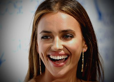 brunettes, women, close-up, models, mouth, smiling, teeth, Irina Shayk, faces - desktop wallpaper
