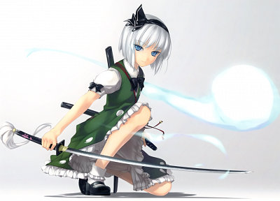 Touhou, Konpaku Youmu, anime, white hair, soft shading, girls with swords, simple background, anime girls, Rokuwata Tomoe - related desktop wallpaper