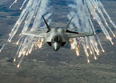 aircraft, military, F-22 Raptor, planes, flares - related desktop wallpaper