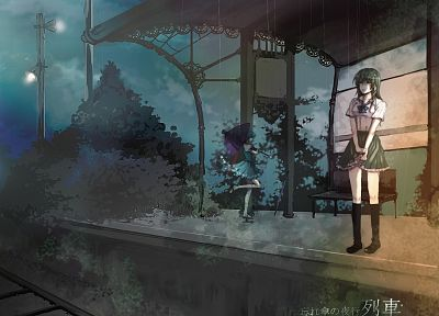 Touhou, rain, school uniforms, trains, skirts, long hair, blue hair, short hair, green hair, raindrops, umbrellas, Kochiya Sanae, Tatara Kogasa, anime girls - desktop wallpaper