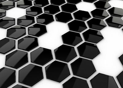 3D view, hexagons, monochrome, greyscale - random desktop wallpaper