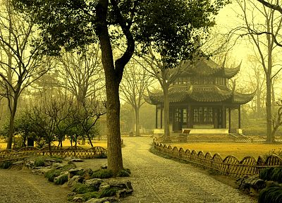 landscapes, trees, Japanese architecture - random desktop wallpaper