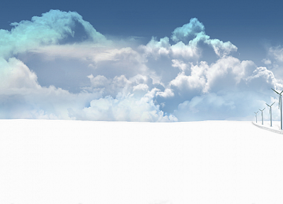 clouds, snow, CGI, wind generators, skyscapes - random desktop wallpaper