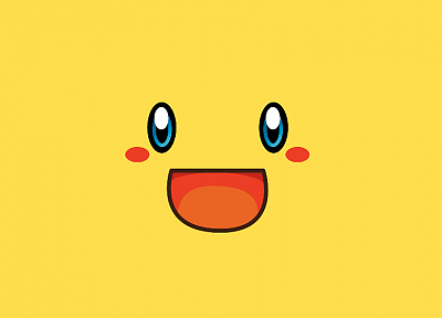 minimalistic, yellow, Pikachu - random desktop wallpaper
