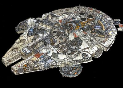 Star Wars, movies, C3PO, R2D2, Luke Skywalker, Han Solo, Chewbacca, spaceships, Millennium Falcon, vehicles, cross section - related desktop wallpaper
