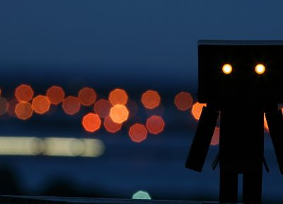 silhouettes, bokeh, Danboard, glowing eyes - related desktop wallpaper