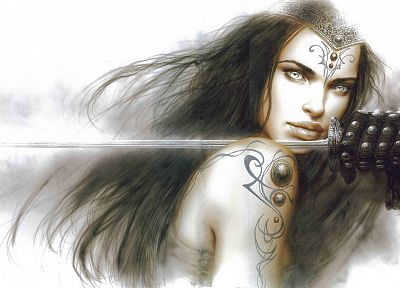 brunettes, women, Luis Royo, gray eyes, swords - random desktop wallpaper