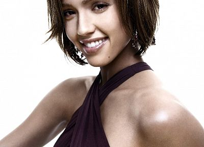 women, Jessica Alba, actress, short hair, white background - desktop wallpaper
