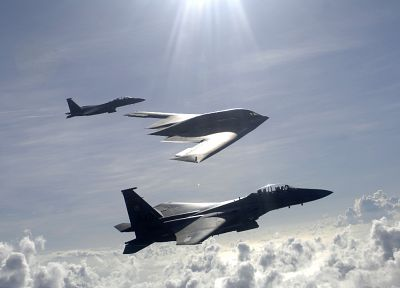 aircraft, bomber, F-15 Eagle, B-2 Spirit - related desktop wallpaper