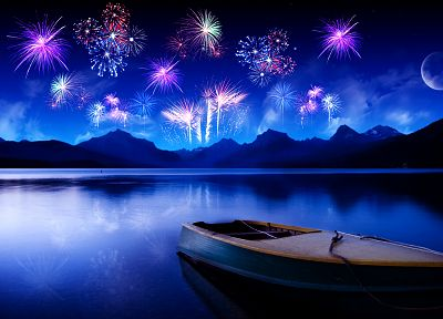 mountains, Moon, fireworks, ships, vehicles, lakes - related desktop wallpaper