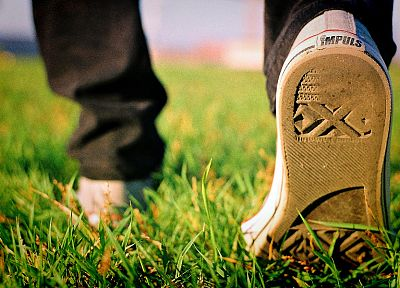grass, shoes, sneakers - random desktop wallpaper