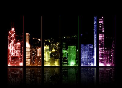 cityscapes, buildings, Hong Kong, rainbows, Rainbow City - related desktop wallpaper