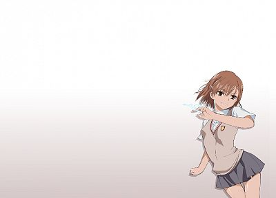 school uniforms, Misaka Mikoto, Toaru Kagaku no Railgun, simple background - desktop wallpaper