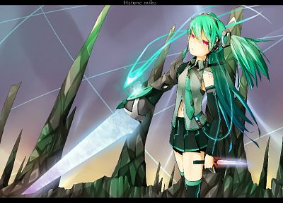 Vocaloid, Hatsune Miku, weapons, twintails, daggers, anime girls, detached sleeves, swords - related desktop wallpaper
