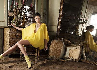 brunettes, women, mirrors, high heels, chairs, yellow dress - random desktop wallpaper