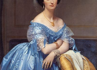 paintings, blue dress, Jean Auguste Dominique Ingres, gowns - random desktop wallpaper