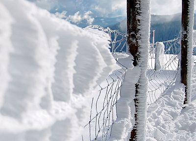 close-up, snow, fences, chain link fence - random desktop wallpaper