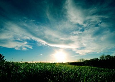 green, blue, clouds, landscapes, nature, grass, skyscapes - related desktop wallpaper
