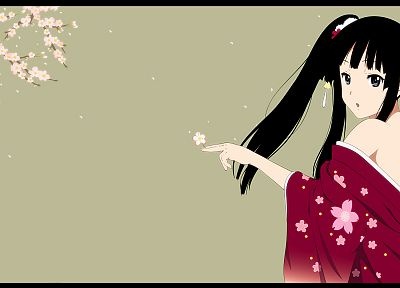 K-ON!, flowers, Akiyama Mio, Japanese clothes, simple background, anime girls - random desktop wallpaper