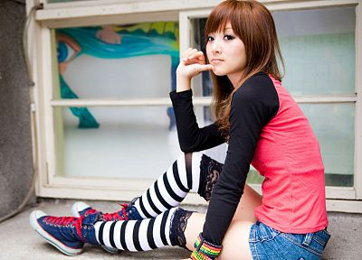 brunettes, women, Asians, shorts, Mikako Zhang Kaijie, bangs, striped legwear - related desktop wallpaper