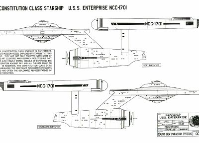 Star Trek, USS Enterprise, Star Trek schematics - desktop wallpaper