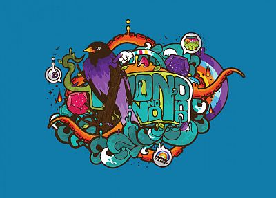 birds, tentacles, pop art, turquoise, JThree Concepts, blue background, jewels, Jared Nickerson - random desktop wallpaper