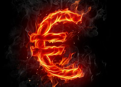 fire, typography, Europe, euro, black background - related desktop wallpaper