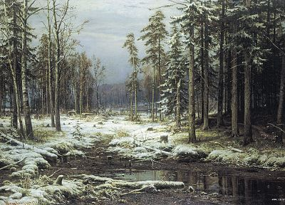 paintings, winter, snow, forests, artwork, Ivan Shishkin - related desktop wallpaper