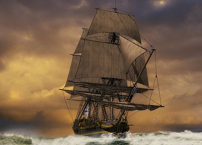 sunset, ocean, ships, sail ship, sailing, sails - related desktop wallpaper