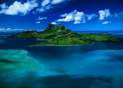 ocean, clouds, landscapes, nature, tropical, islands, skyscapes, Bora Bora, sea - related desktop wallpaper