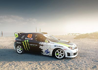 sand, cars, Ken Block, vehicles, Monster Energy, DC Shoes, Subaru Impreza WRX STI - random desktop wallpaper