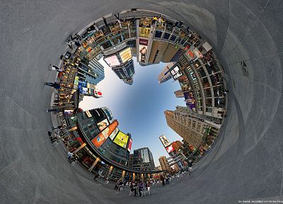 buildings, Toronto, artwork, panorama circle, fisheye circle, cities - related desktop wallpaper