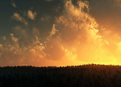 sunrise, clouds, landscapes, forests - related desktop wallpaper