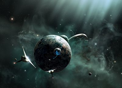 outer space, futuristic, planets, digital art - related desktop wallpaper