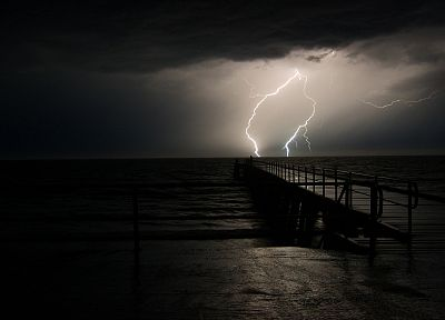 ocean, dark, storm, weather, piers, lightning - random desktop wallpaper