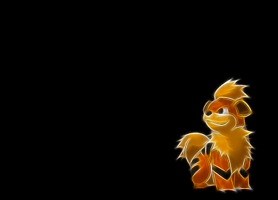 Pokemon, simple background, black background, Growlithe - desktop wallpaper