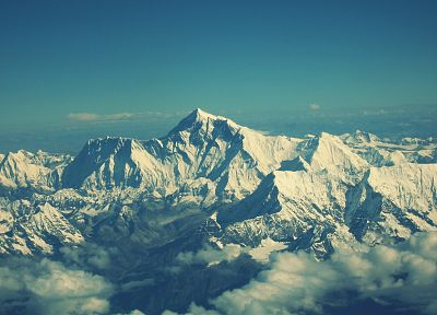 mountains, clouds, snow landscapes, HDR photography, Himalaya, Mount Everest - desktop wallpaper
