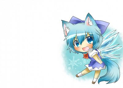 tails, Touhou, wings, white, blue eyes, chibi, Cirno, nekomimi, blue hair, short hair, blush, fangs, white background - random desktop wallpaper