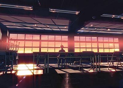 school, classroom, Makoto Shinkai, lonely, sunlight, 5 Centimeters Per Second, desks, chill - random desktop wallpaper