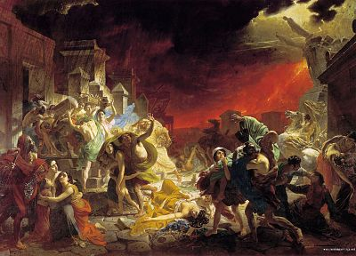 paintings, volcanoes, lava, destruction, artwork, apocalyptic, scared, Pompei - related desktop wallpaper