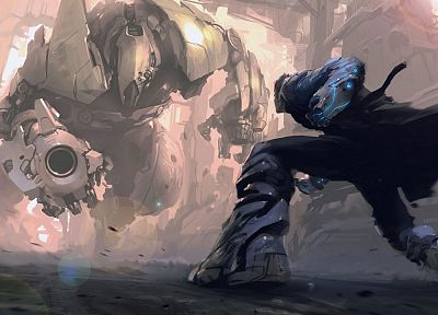 robots, fantasy art, artwork, capes - desktop wallpaper