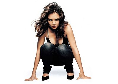 boobs, women, actress, celebrity, Katie Holmes, white background - desktop wallpaper