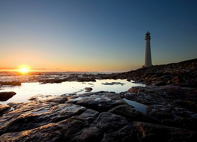 sunset, coast, lighthouses, sea - desktop wallpaper