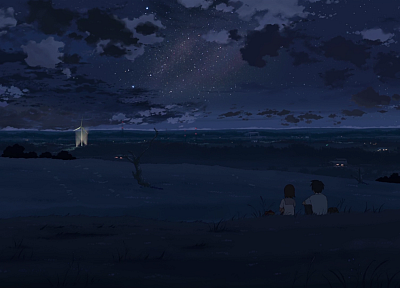 night, stars, Makoto Shinkai, couple, 5 Centimeters Per Second, anime, windmills, Nightsky - related desktop wallpaper