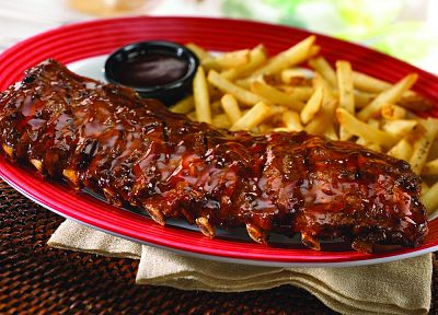 food, ribs, french fries, plates - random desktop wallpaper