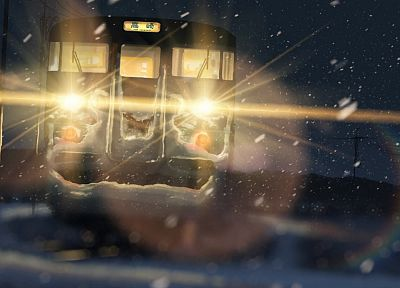 snow, trains, Makoto Shinkai, traffic lights, 5 Centimeters Per Second - random desktop wallpaper