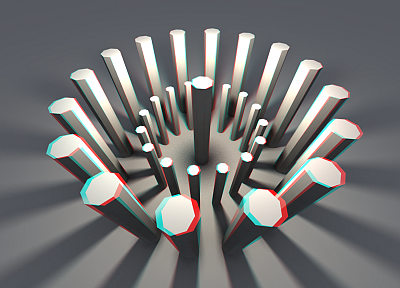 3D view, stereo, geometry, anaglyph, digital art - desktop wallpaper