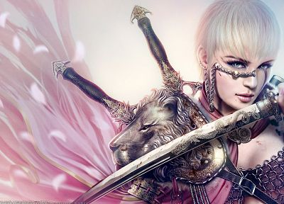 cartoons, women, blade, warriors, girls with swords, swords - random desktop wallpaper