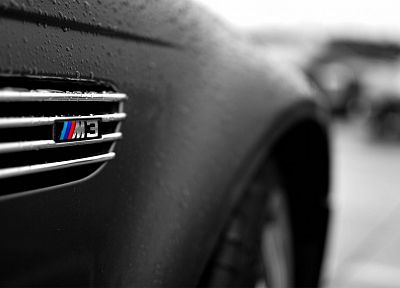 close-up, BMW, black, cars, wet, vehicles, selective coloring, logos, BMW M3, matte - desktop wallpaper