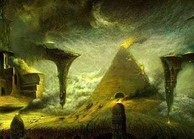 fantasy, buildings, artwork, TagNotAllowedTooSubjective, oil painting - related desktop wallpaper